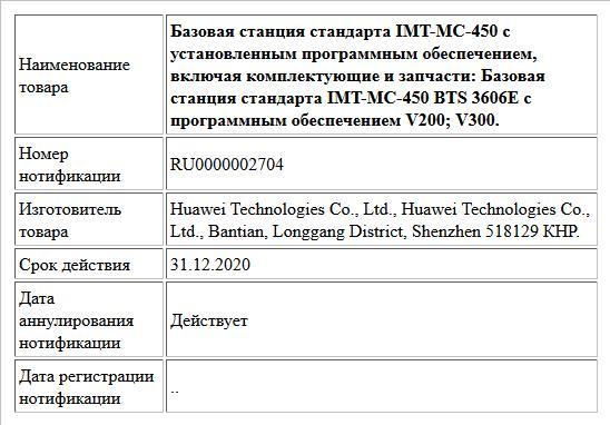 Базовая станция стандарта IMT-MC-450 с установленным программным обеспечением, включая комплектующие и запчасти: Базовая станция стандарта IMT-MC-450 BTS 3606Е с программным обеспечением V200; V300.