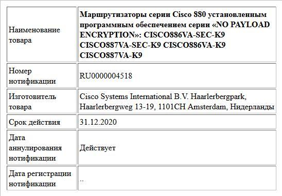 Маршрутизаторы серии Cisco 880 установленным программным обеспечением серии «NO PAYLOAD ENCRYPTION»: CISCO886VA-SEC-K9 CISCO887VA-SEC-K9 CISCO886VA-K9 CISCO887VA-K9
