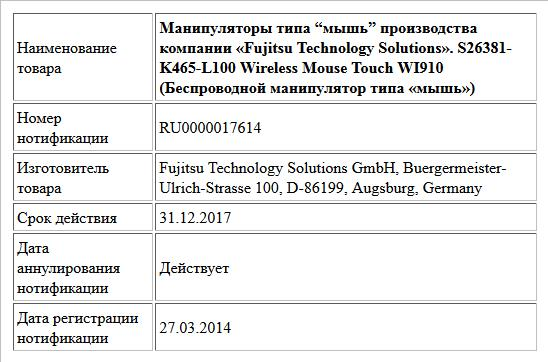 "Манипуляторы типа ""мышь"" производства компании «Fujitsu Technology Solutions». S26381-K465-L100 Wireless Mouse Touch WI910  (Беспроводной манипулятор типа «мышь»)"