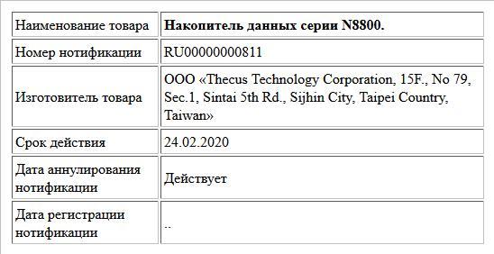Накопитель данных серии N8800.