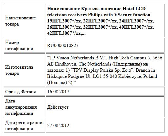 Наименование Краткое описание Hotel LCD television receivers Philips with VSecure function   19HFL3007*/xx, 22HFL3007*/xx, 24HFL3007*/xx, 26HFL3007*/xx, 32HFL3007*/xx, 40HFL3007*/xx, 42HFL3007*/xx,...
