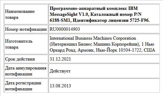 Программно-аппаратный комплекс IBM MessageSight V1.0, Каталожный номер P/N 6188-SM1, Идентификатор лицензии 5725-F96.