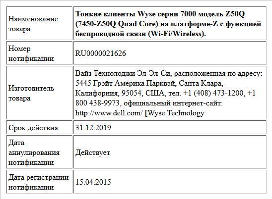 Тонкие клиенты Wyse серии 7000 модель Z50Q (7450-Z50Q Quad Core) на платформе-Z c функцией беспроводной связи (Wi-Fi/Wireless).