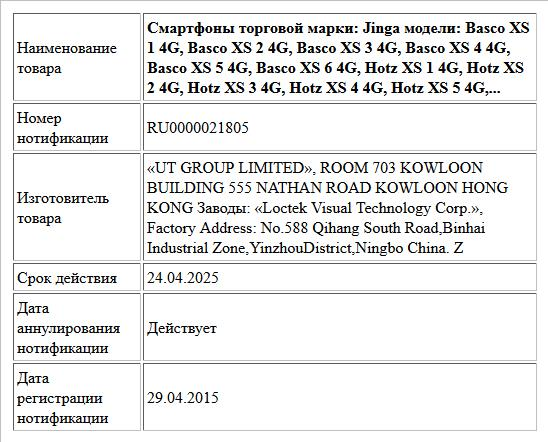 Смартфоны торговой марки: Jinga модели: Basco XS 1 4G, Basco XS 2 4G,  Basco XS 3 4G, Basco XS 4 4G, Basco XS 5 4G, Basco XS 6 4G, Hotz XS 1 4G, Hotz XS 2 4G, Hotz XS 3 4G, Hotz XS 4 4G, Hotz XS 5 4G,...