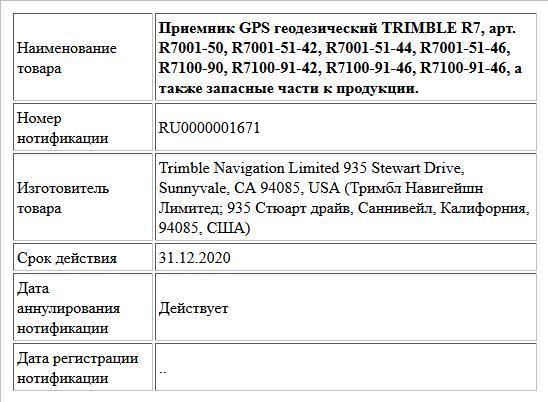 Приемник GPS геодезический TRIMBLE R7, арт. R7001-50, R7001-51-42, R7001-51-44, R7001-51-46, R7100-90, R7100-91-42, R7100-91-46, R7100-91-46, а также запасные части к продукции.