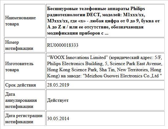 Бесшнуровые телефонные аппараты Philips радиотехнологии DECT, моделей: M1xxx/xx, M3xxx/xx, где «x» - любая цифра от 0 до 9, буква от A до Z и / или ее отсутствие, обозначающая модификации приборов с ...