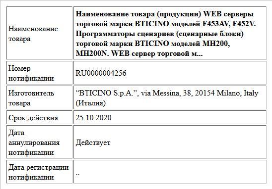 Наименование товара (продукции) WEB серверы торговой марки BTICINO моделей F453AV, F452V. Программаторы сценариев (сценарные блоки) торговой марки BTICINO моделей MH200, MH200N. WEB сервер торговой м...