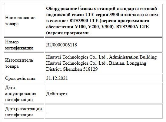 Оборудование базовых станций стандарта сотовой подвижной связи LTE серии 3900 и запчасти к ним в составе: BTS3900 LTE (версия программного обеспечения-V100, V200, V300). BTS3900A LTE (версия программн...