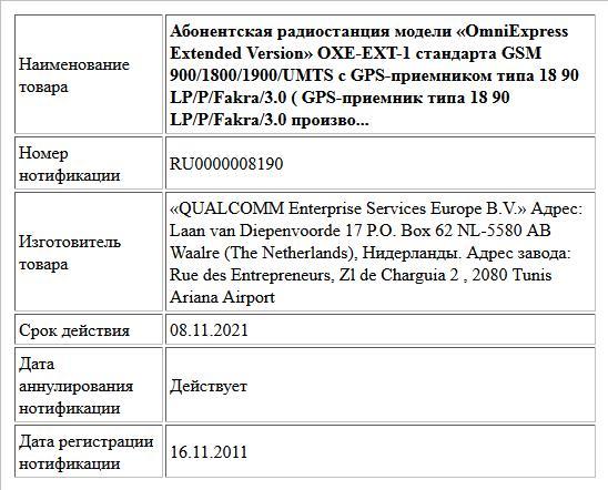 Абонентская радиостанция модели «OmniExpress Extended Version» OXE-EXT-1 стандарта GSM 900/1800/1900/UMTS с GPS-приемником типа 18 90 LP/P/Fakra/3.0  ( GPS-приемник  типа 18 90 LP/P/Fakra/3.0  произво...