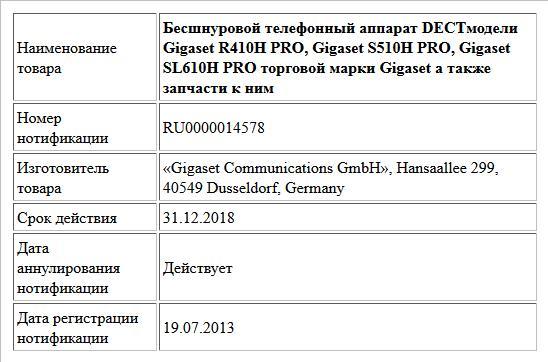 Бесшнуровой телефонный аппарат DECTмодели Gigaset R410H PRO, Gigaset S510H PRO, Gigaset SL610H PRO торговой марки Gigaset а также запчасти к ним