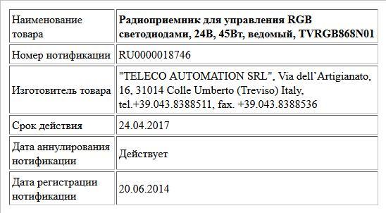 Радиоприемник для управления RGB светодиодами, 24В, 45Вт, ведомый, TVRGB868N01