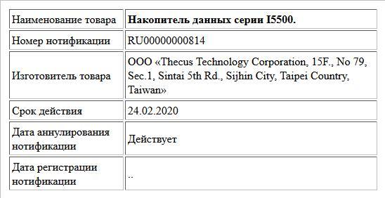 Накопитель данных серии I5500.