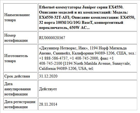 Ethernet-коммутаторы Juniper серии EX4550. Описание моделей и их комплектаций: Модель: EX4550-32T-AFI; Описание комплектации: EX4550, 32 порта 100M/1G/10G BaseT, конвергентный переключатель, 650W AC...