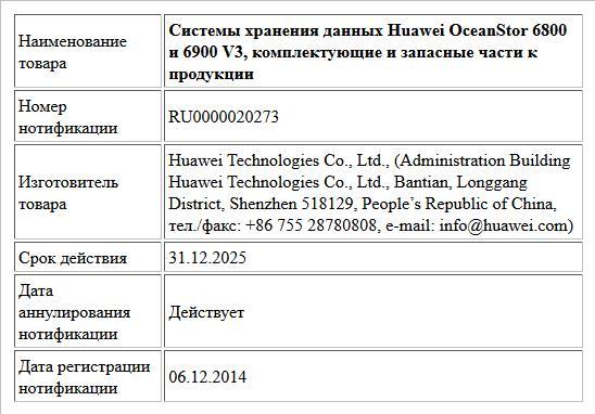 Системы хранения данных Huawei OceanStor 6800 и 6900 V3, комплектующие и запасные части к продукции