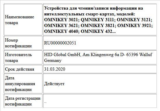 Устройства для чтения/записи информации на интеллектуальных смарт-картах, моделей: OMNIKEY 3021; QMNIKEY 3111; OMNIKEY 3121; OMNIKEY 3621; OMNIKEY 3821; OMNIKEY 3921; OMNIKEY 4040; OMNIKEY 432...