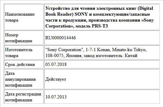 Устройство для чтения электронных книг (Digital Book Reader) SONY и комплектующие/запасные части к продукции, производства компании «Sony Corporation», модель PRS-T3