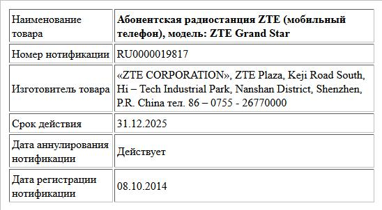 Абонентская радиостанция ZTE (мобильный телефон), модель: ZTE Grand Star