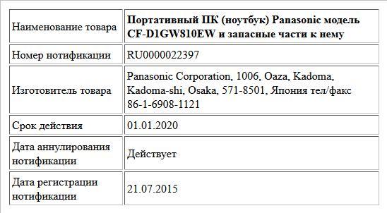 Портативный ПК (ноутбук) Panasonic модель CF-D1GW810EW и  запасные части к нему