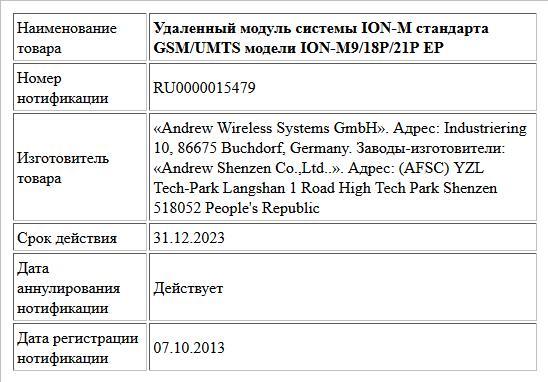 Удаленный модуль системы ION-M стандарта GSM/UMTS модели ION-M9/18P/21P EP