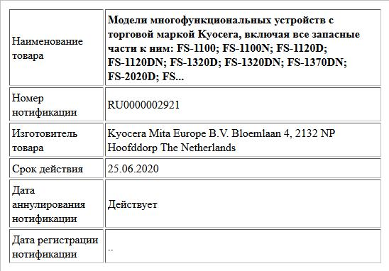Модели многофункциональных устройств с торговой маркой Kyocera, включая все запасные части к ним:  FS-1100;  FS-1100N;  FS-1120D;  FS-1120DN;  FS-1320D;  FS-1320DN;  FS-1370DN;  FS-2020D;  FS...