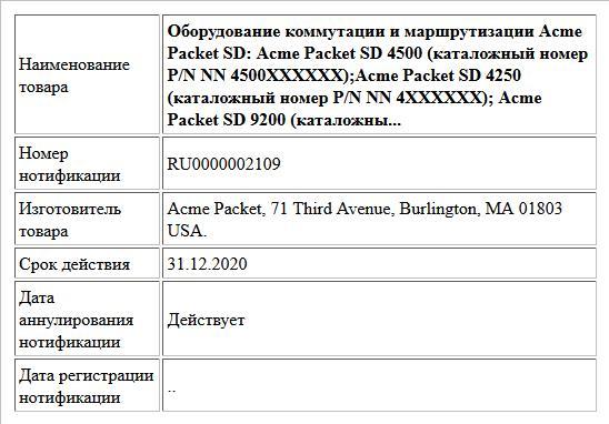 Оборудование коммутации и маршрутизации Acme Packet SD: Acme Packet SD 4500 (каталожный номер P/N NN 4500XXXXXX);Acme Packet SD 4250 (каталожный номер P/N NN 4XXXXXX); Acme Packet SD 9200 (каталожны...