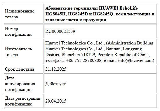 Абонентские терминалы HUAWEI EchoLife HG8045H, HG8245D и HG8245Q, комплектующие и запасные части к продукции