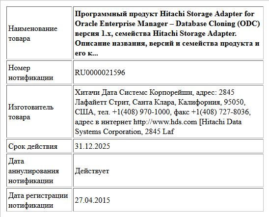 Программный продукт Hitachi Storage Adapter for Oracle Enterprise Manager – Database Cloning (ODC) версия 1.x, семейства Hitachi Storage Adapter. Описание названия, версий и семейства продукта и его к...