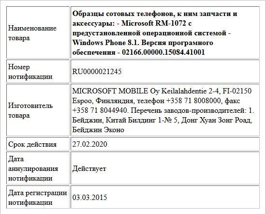 Образцы сотовых телефонов, к ним запчасти и аксессуары: - Microsoft RM-1072 с предустановленной операционной системой - Windows Phone 8.1. Версия програмного обеспечения - 02166.00000.15084.41001