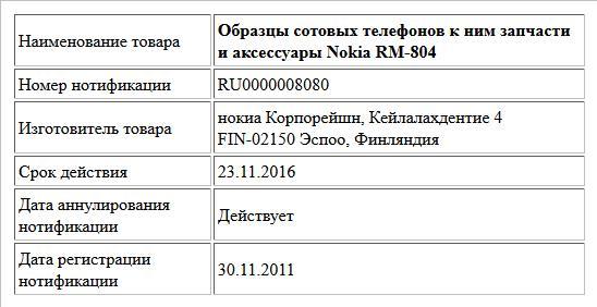 Образцы сотовых телефонов к ним запчасти и аксессуары Nokia RM-804