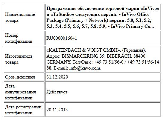 Программное обеспечение торговой марки «InVivo» и «TxStudio» следующих версий: • InVivo Office Package (Primary + Network) версии: 5.0, 5.1, 5.2; 5.3; 5.4; 5.5; 5.6; 5.7; 5.8; 5.9; • InVivo Primary Co...