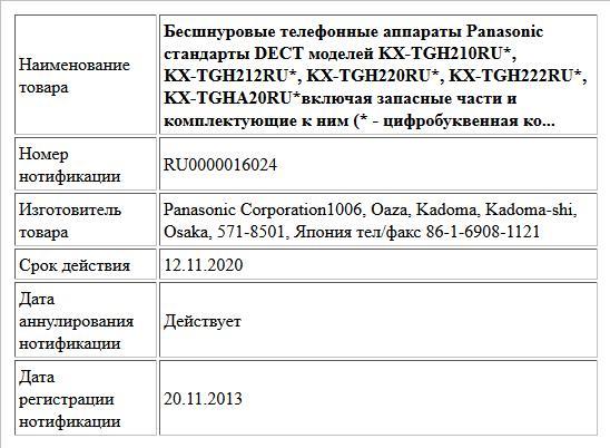 Бесшнуровые телефонные аппараты Panasonic стандарты DECT моделей KX-TGH210RU*, KX-TGH212RU*, KX-TGH220RU*, KX-TGH222RU*, KX-TGHA20RU*включая запасные части и комплектующие к ним (* - цифробуквенная ко...