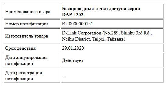 Беспроводные точки доступа серии DAP-1353