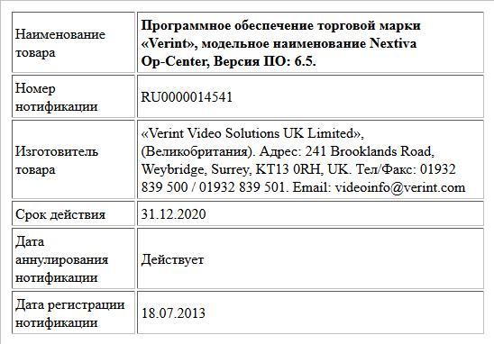 Программное обеспечение торговой марки «Verint», модельное наименование Nextiva Op-Center, Версия ПО: 6.5.