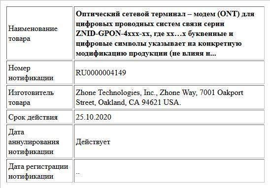 Оптический сетевой терминал – модем (ONT) для  цифровых проводных систем связи серии ZNID-GPON-4xxx-xx,  где xx…x буквенные и цифровые символы указывает на конкретную модификацию продукции (не влияя н...