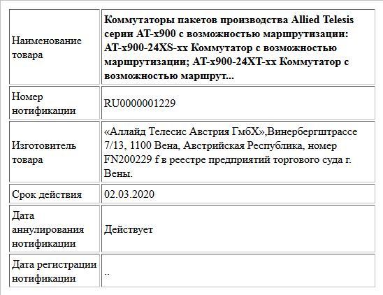 Коммутаторы пакетов производства Allied Telesis серии AT-x900 c возможностью маршрутизации: AT-x900-24XS-xx Коммутатор с возможностью маршрутизации; AT-x900-24XT-xx Коммутатор с возможностью маршрут...