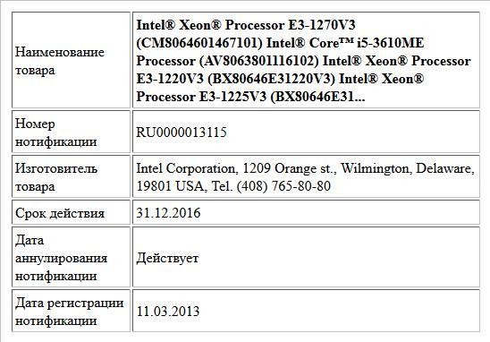 Intel® Xeon® Processor E3-1270V3 (CM8064601467101) Intel® Core™ i5-3610ME Processor (AV8063801116102) Intel® Xeon® Processor E3-1220V3 (BX80646E31220V3) Intel® Xeon® Processor E3-1225V3 (BX80646E31...