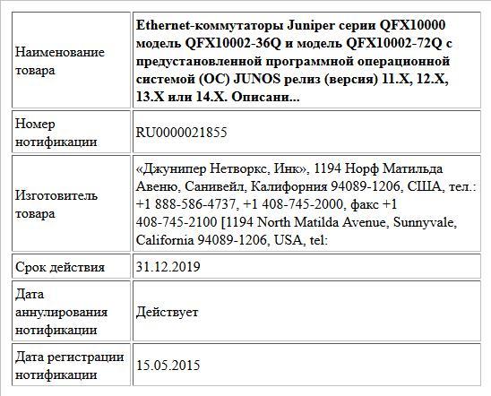 Ethernet-коммутаторы Juniper серии QFX10000 модель QFX10002-36Q и модель QFX10002-72Q с предустановленной программной операционной системой (ОС) JUNOS релиз (версия) 11.X, 12.X, 13.Х или 14.Х. Описани...