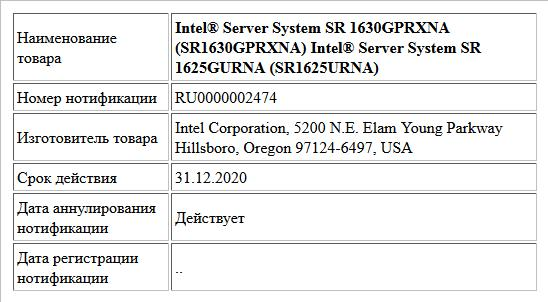 Intel® Server System SR 1630GPRXNA (SR1630GPRXNA) Intel® Server System SR 1625GURNA (SR1625URNA)