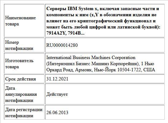 Серверы IBM System x, включая запасные части и компоненты к ним (x,Y в обозначении изделия не влияет на его криптографический функционал и может быть любой цифрой или латинской буквой): 7914A2Y, 7914B...