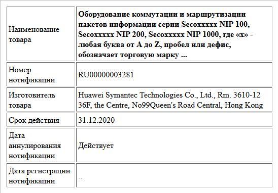 Оборудование коммутации и маршрутизации пакетов информации серии Secoxxxxx NIP 100, Secoxxxxx NIP 200, Secoxxxxx NIP 1000, где «х» - любая буква от А до Z, пробел или дефис, обозначает торговую марку ...