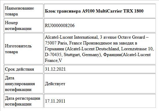 Блок трансивера А9100 MultiCarrier TRX 1800