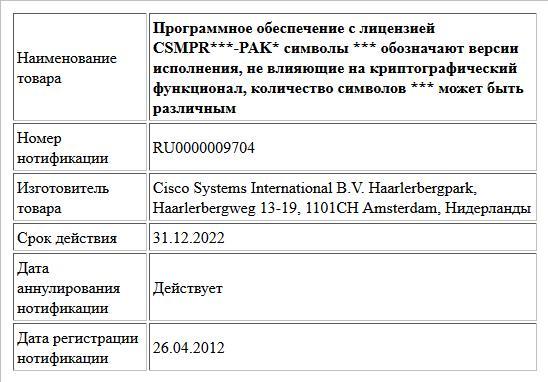 Программное обеспечение с лицензией CSMPR***-PAK* символы *** обозначают версии исполнения, не влияющие на криптографический функционал, количество символов *** может быть различным