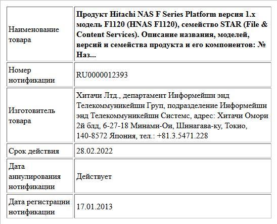 Продукт Hitachi NAS F Series Platform  версия 1.x модель F1120 (HNAS F1120), семейство STAR (File & Content Services). Описание названия, моделей, версий и семейства продукта и его компонентов: № Наз...