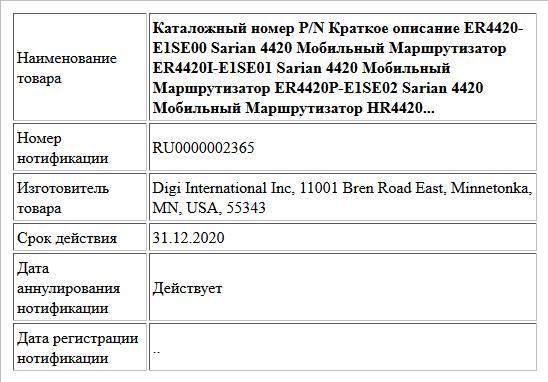 Каталожный номер P/N Краткое описание ER4420-E1SE00 Sarian 4420 Мобильный Маршрутизатор ER4420I-E1SE01 Sarian 4420 Мобильный Маршрутизатор ER4420P-E1SE02 Sarian 4420 Мобильный Маршрутизатор HR4420...