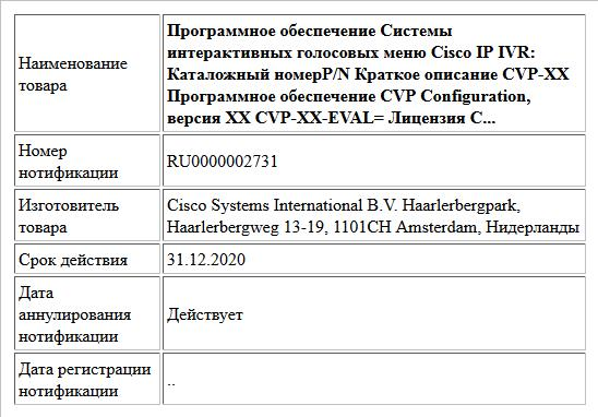 Программное обеспечение Системы интерактивных голосовых меню Cisco IP IVR: Каталожный номерP/N Краткое описание CVP-XX  Программное обеспечение CVP Configuration, версия XX  CVP-XX-EVAL= Лицензия C...