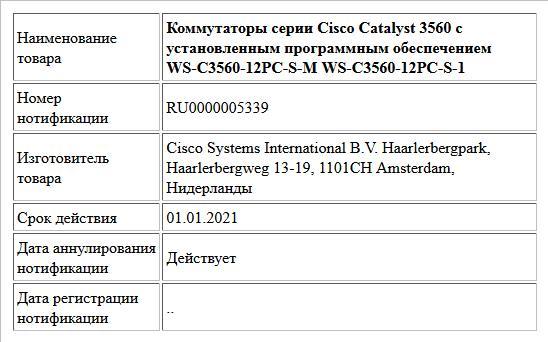 Коммутаторы серии Cisco Catalyst 3560 с установленным программным обеспечением WS-C3560-12PC-S-M WS-C3560-12PC-S-1