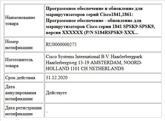 Программное обеспечение и обновление для маршрутизаторов серий Cisco1841,1861: Программное обеспечение - обновление для маршрутизаторов Cisco серии 1841 SPSK9-SPSK9, версия XXXXXX (P/N S184RSPSK9-XXX...