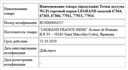 Наименование товара (продукции) Точки доступа Wi-Fi торговой марки LEGRAND моделей 67364, 67365, 67366, 77911, 77913, 77914