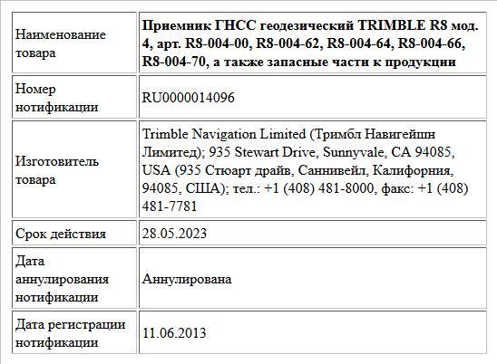 Приемник ГНСС геодезический TRIMBLE R8 мод. 4,   арт. R8-004-00, R8-004-62, R8-004-64, R8-004-66, R8-004-70,  а также запасные части к продукции