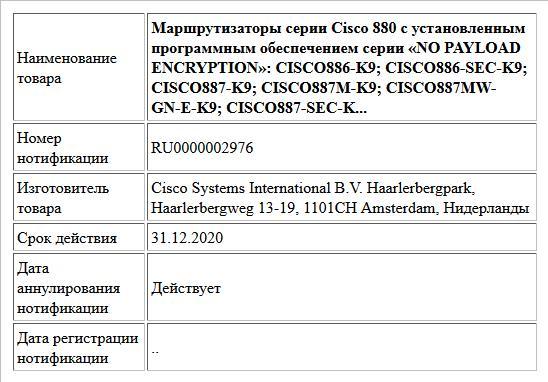 Маршрутизаторы серии Cisco 880 с установленным программным обеспечением серии «NO PAYLOAD ENCRYPTION»: CISCO886-K9; CISCO886-SEC-K9; CISCO887-K9; CISCO887M-K9; CISCO887MW-GN-E-K9; CISCO887-SEC-K...